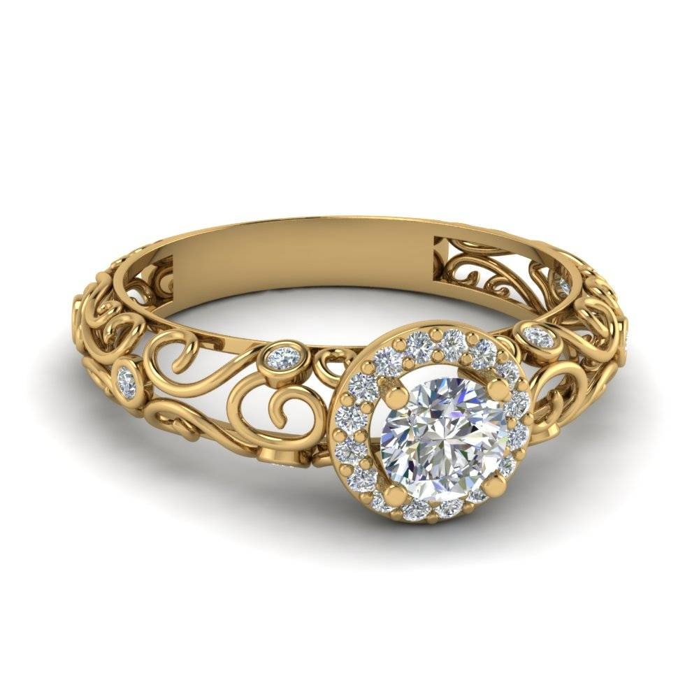 Dome Filigree Halo Vintage Round Engagement Ring With Black Inside Vintage Yellow Gold Wedding Rings (View 5 of 15)