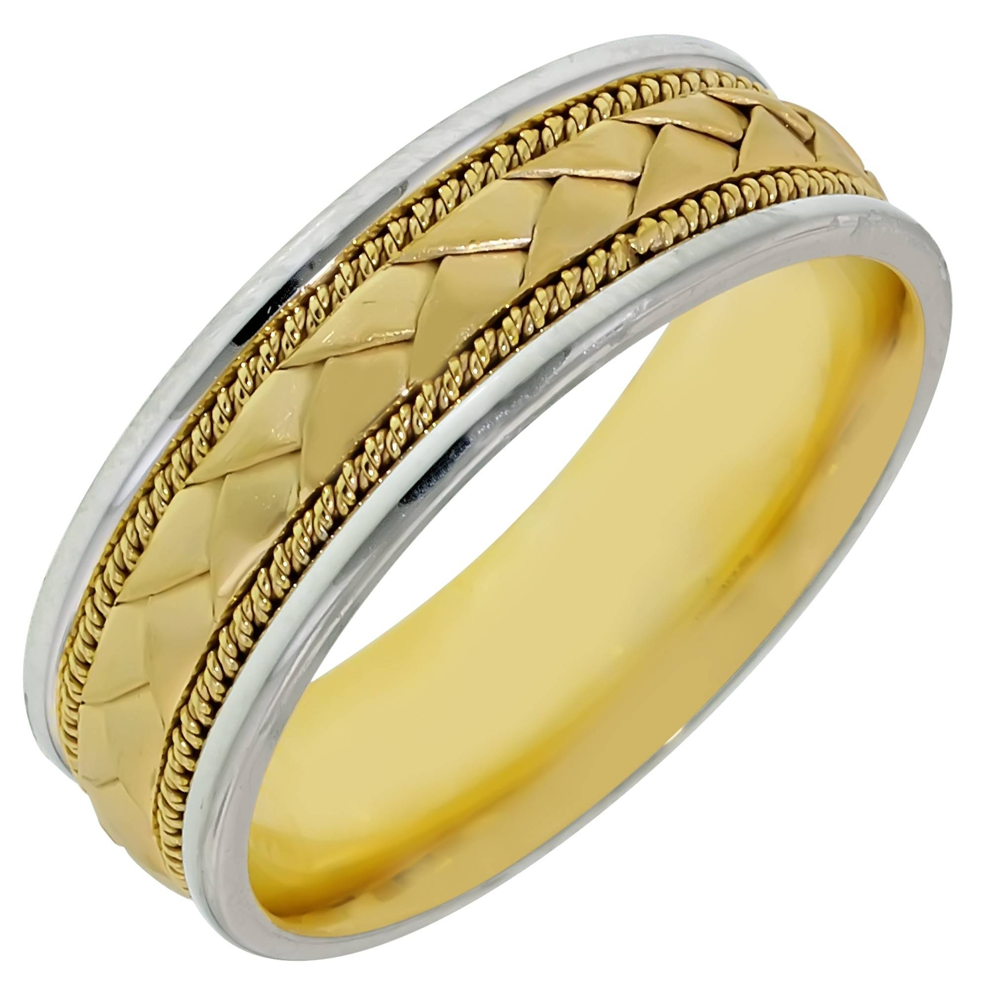 Dora Mens Braided Wedding Band In 14kt White And Yellow Gold (7mm) Intended For White And Yellow Gold Wedding Bands (View 14 of 15)