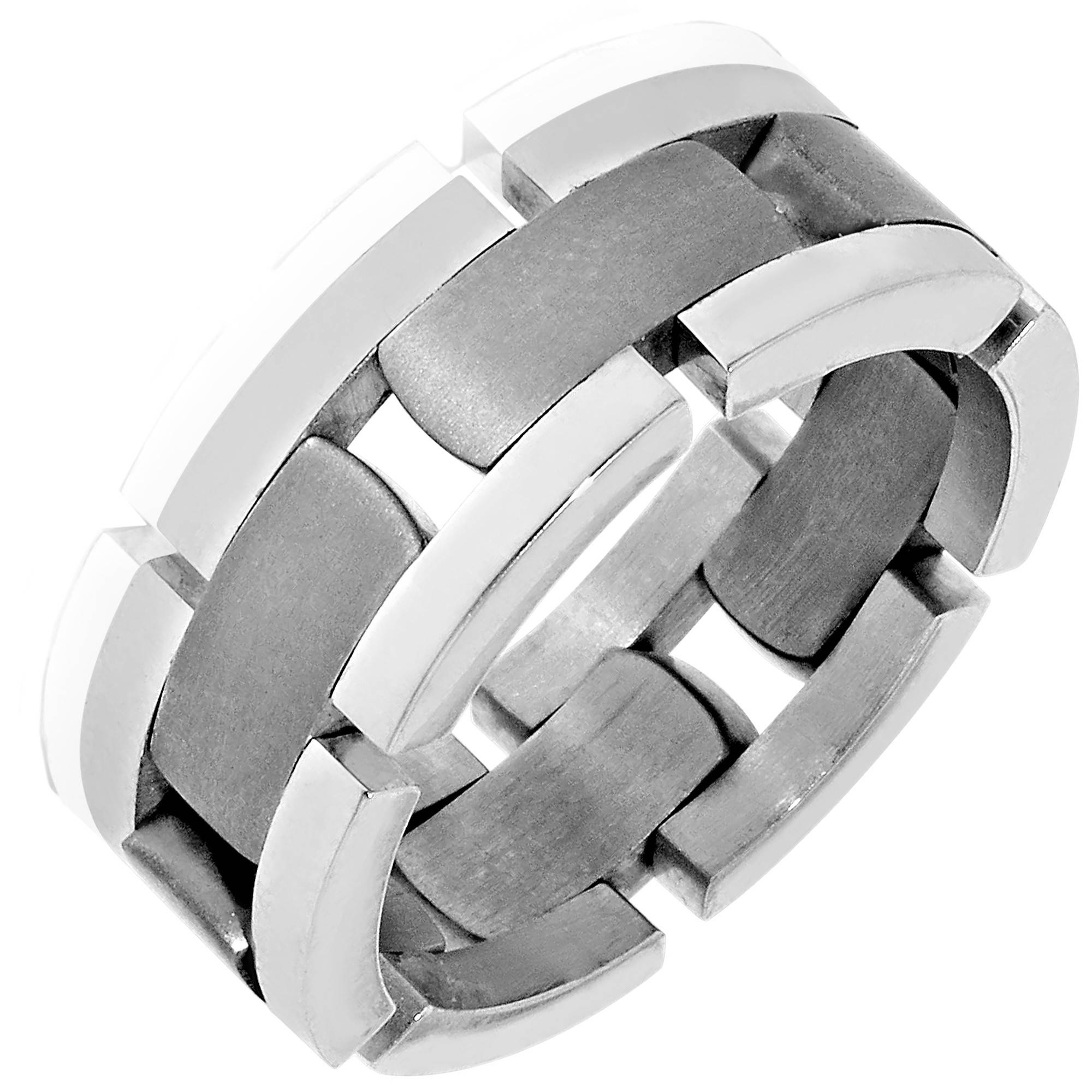 Dora Mens Link Wedding Band In 14Kt White And Titanium (8Mm) Regarding Flexible Mens Wedding Bands (Gallery 1 of 15)