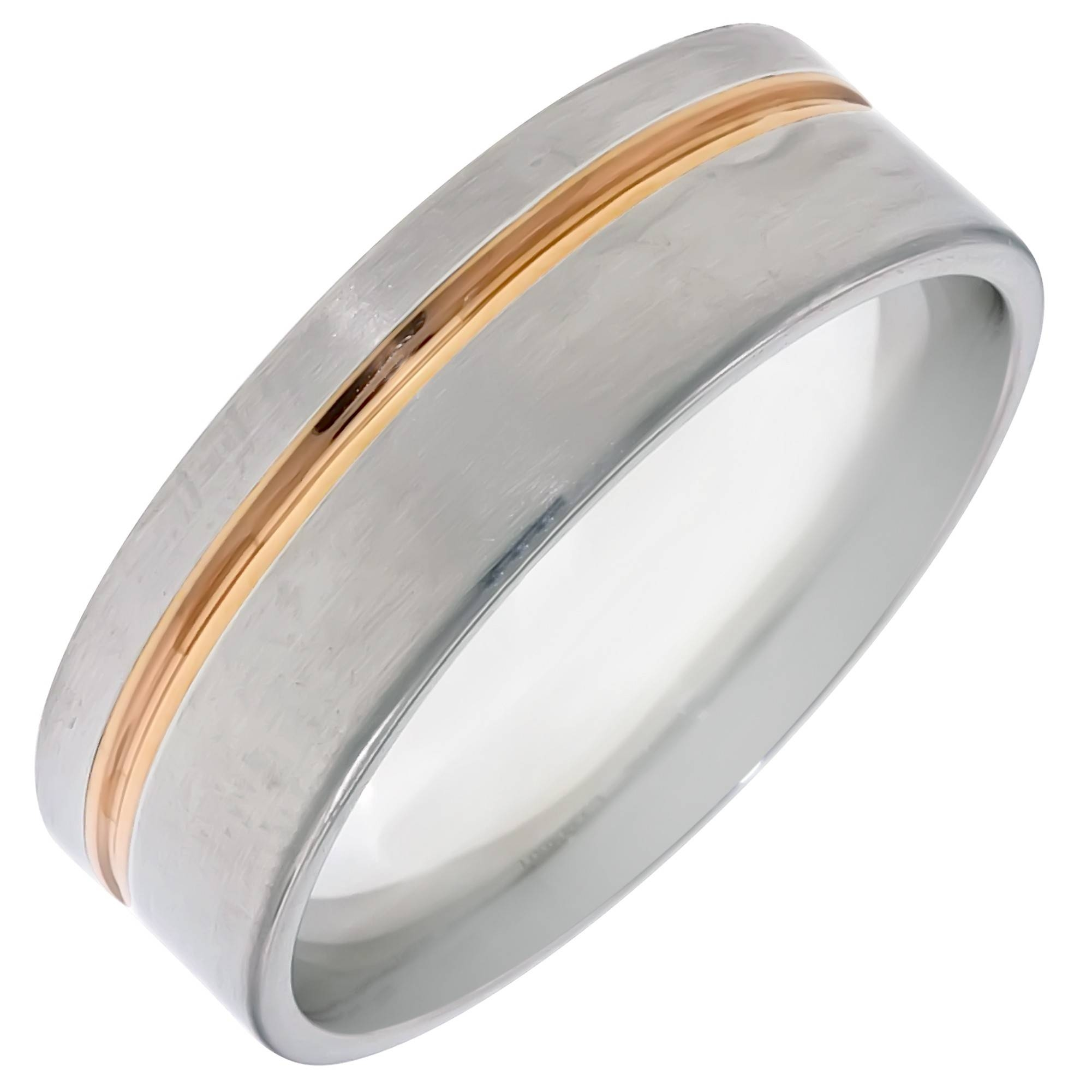 Dora Mens Wedding Band In 14Kt White And Rose Gold (7Mm) Within 8Mm White Gold Wedding Bands (View 8 of 15)