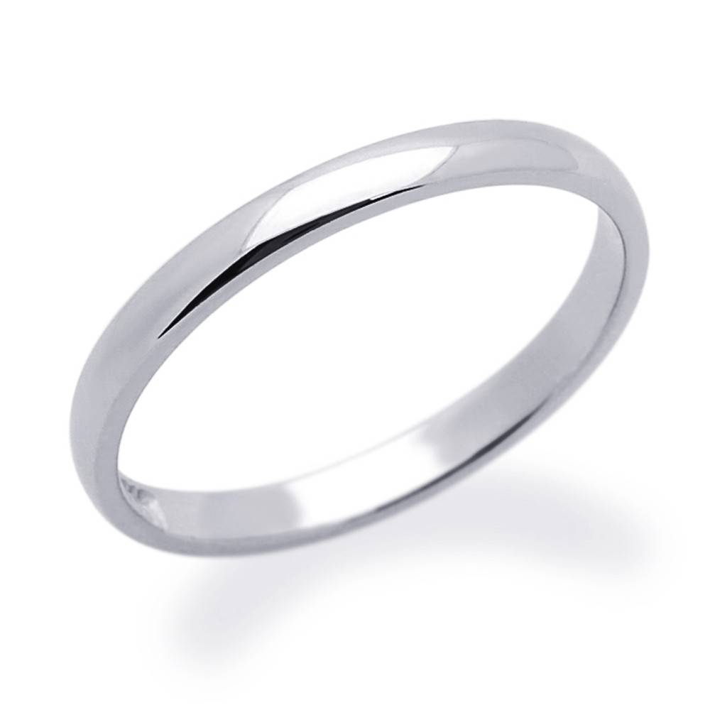Double Accent | 14K White Gold 2Mm Comfort Fit Classic Domed Plain Throughout White Gold Plain Wedding Bands (Gallery 3 of 15)