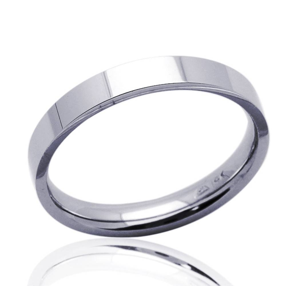 Double Accent | 14K White Gold 3Mm Plain Comfort Fit Flat Style For White Gold Plain Wedding Bands (View 8 of 15)