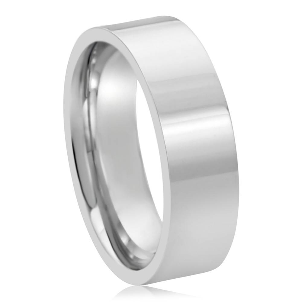 Double Accent | 14K White Gold 6Mm Plain Comfort Fit Flat Style In Plain Mens Wedding Bands (Gallery 2 of 15)