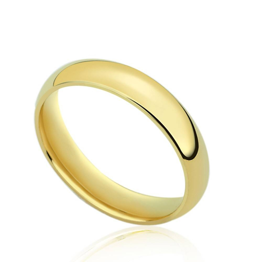 Double Accent | 14K Yellow Gold 4Mm Comfort Fit Classic Domed Pertaining To Best And Newest 4Mm Comfort Fit Wedding Bands (View 5 of 15)