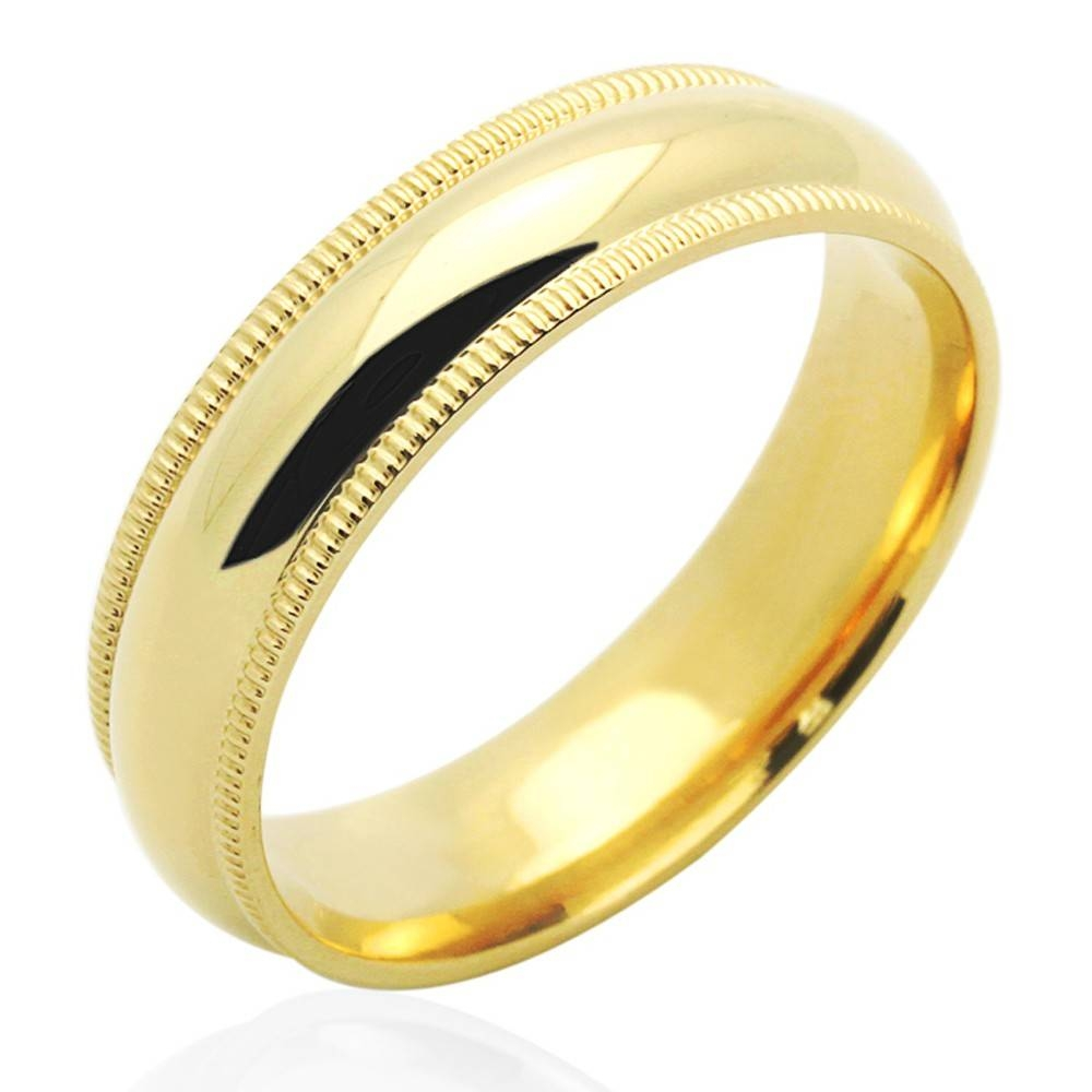 Double Accent | 14K Yellow Gold 5Mm Comfort Fit Milgrain Plain Inside Men Yellow Gold Wedding Bands (View 9 of 15)