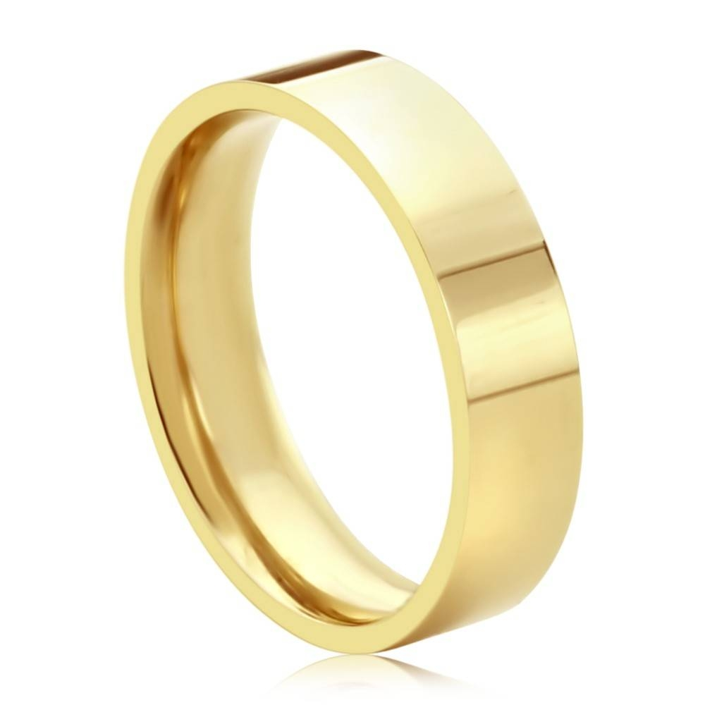 Double Accent | 14K Yellow Gold 5Mm Plain Comfort Fit Flat Style Pertaining To 2017 Mens Flat Wedding Bands (View 6 of 15)