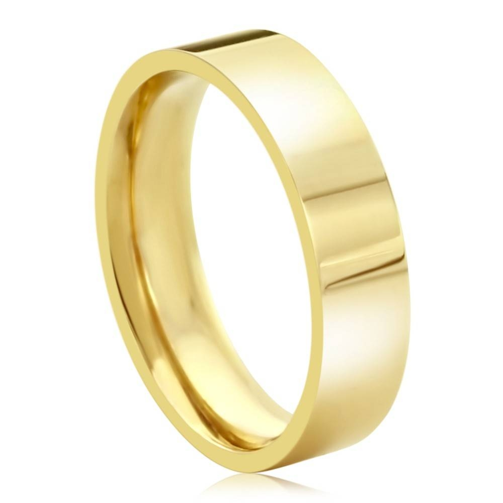 Double Accent | 14K Yellow Gold 5Mm Plain Comfort Fit Flat Style Regarding Yellow Gold Wedding Bands For Men (View 8 of 15)