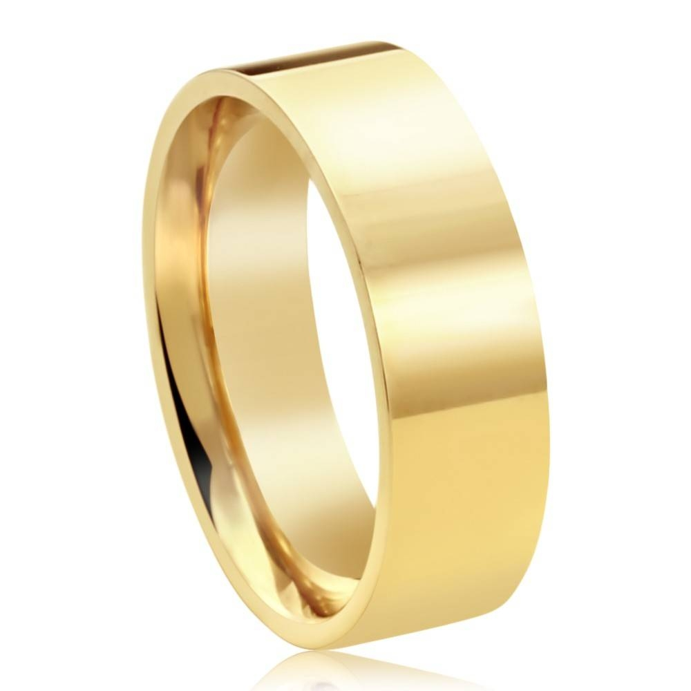 Double Accent | 14K Yellow Gold 6Mm Plain Comfort Fit Flat Style Regarding Yellow Gold Wedding Bands For Men (View 9 of 15)