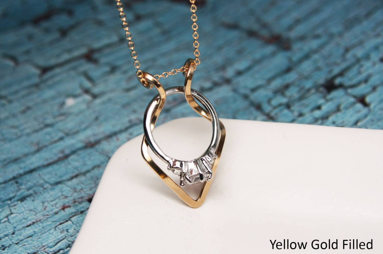 Download Wedding Ring Necklace Holder | Wedding Corners Regarding Wedding Bands On Necklace (Gallery 2 of 15)