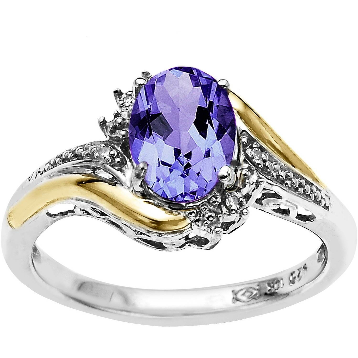 Duet Sterling Silver With 10kt Yellow Gold Oval Amethyst And Intended For Wedding Rings With Amethyst (Gallery 14 of 15)
