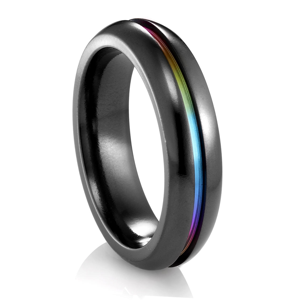 Edward Mirell Rainbow Black Titanium Ring – 6Mm Pertaining To Black Metal Wedding Bands (Gallery 12 of 15)