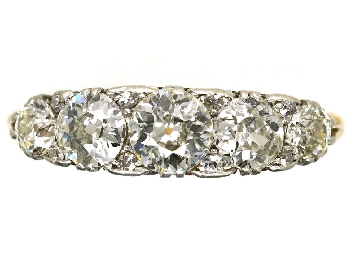 Edwardian 18Ct Gold & Platinum Five Stone Diamond Carved Half Hoop Regarding Five Diamond Engagement Ring (View 6 of 15)