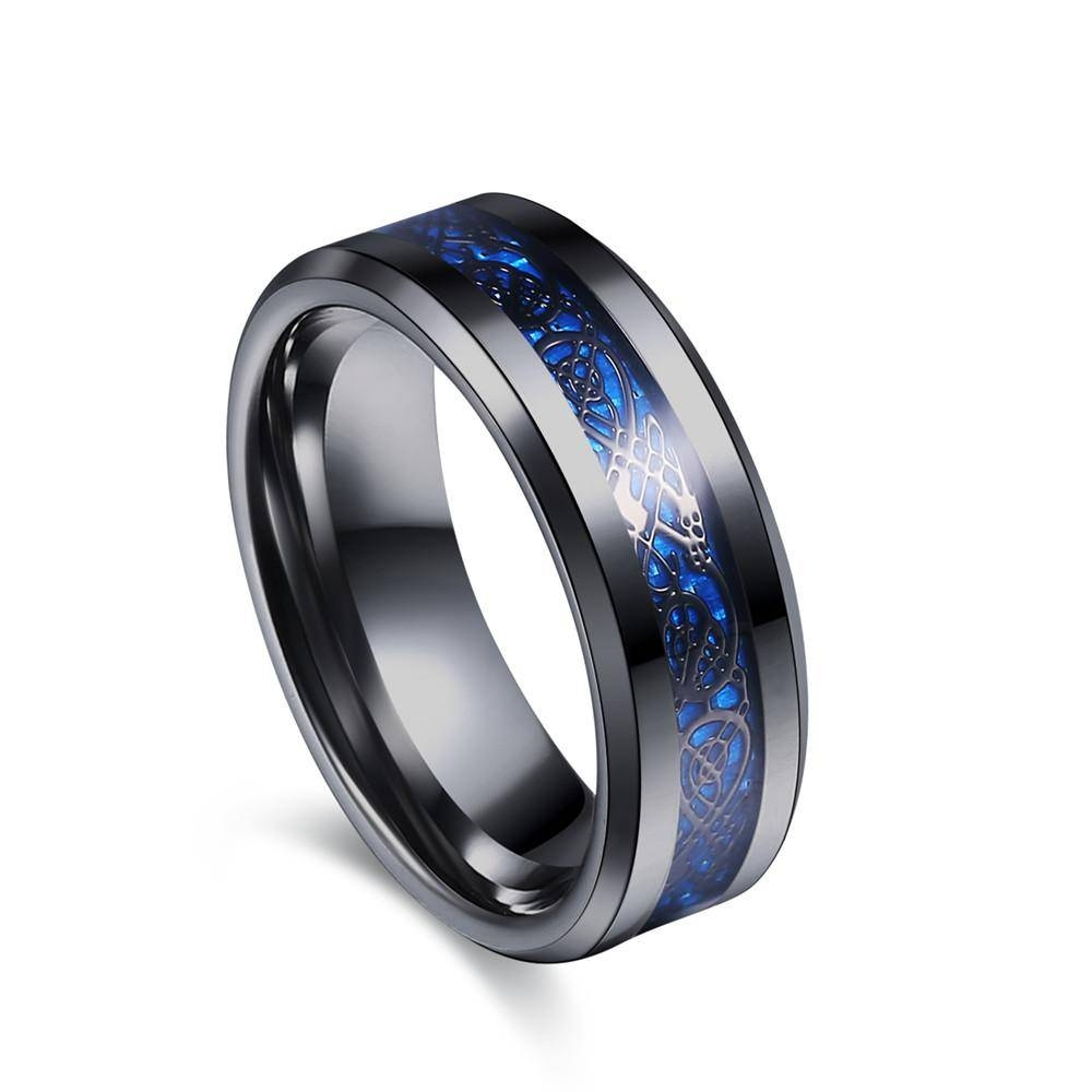Eejart Black 316L Stainless Steel Ring Wedding Band Blue Carbon Intended For Black Steel Wedding Bands (Gallery 14 of 15)