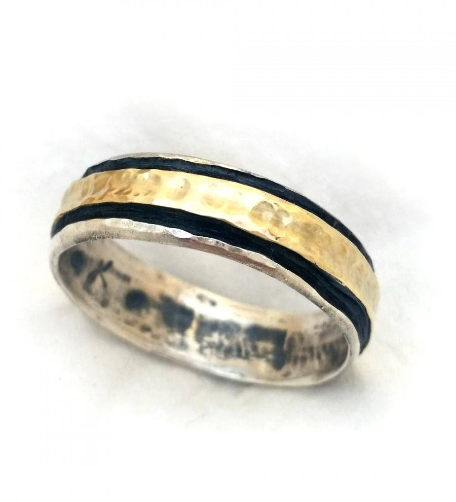 Elegant Men's Ring, Handmade Men's Wedding Band, Oxidized Sterling In Silver And Gold Mens Wedding Bands (View 9 of 15)