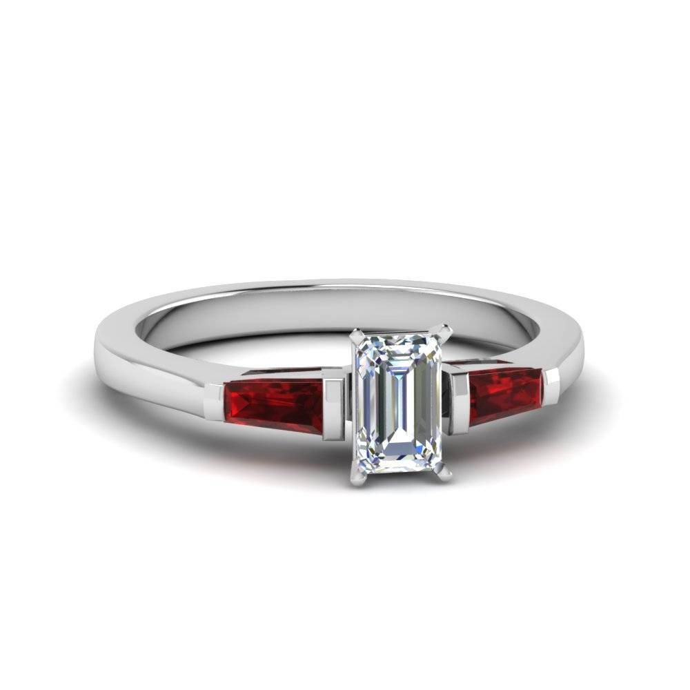Emerald Cut 3 Stone Ring With Ruby Baguette In 14K White Gold With Regard To 3 Stone Platinum Engagement Rings (View 14 of 15)