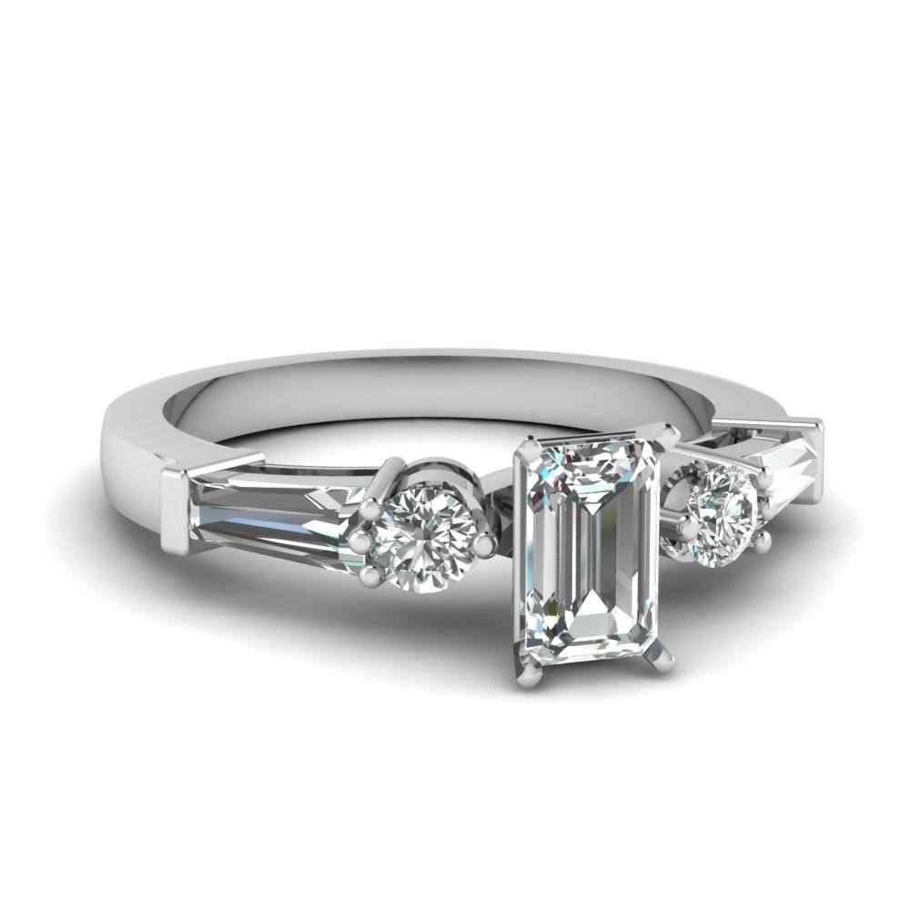 Emerald Cut Diamond Engagement Ring In 14K White Gold Inside Emerald Cut Engagement Rings Baguettes (View 6 of 15)