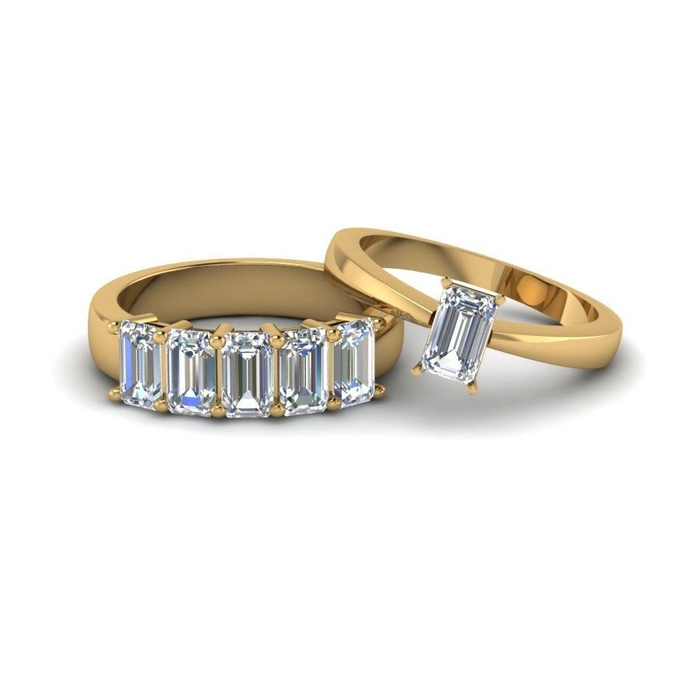 Emerald Cut Diamond Solitaire Ring With Eternity Band In 14K Rose With Regard To Emerald Cut Engagement Rings Under  (View 10 of 15)