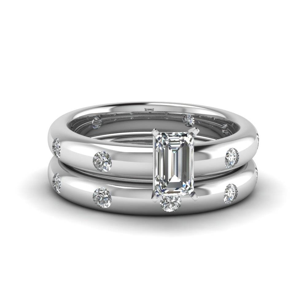 Emerald Cut Flush Set Diamond Comfort Fit Wedding Band In 14K Throughout Flush Setting Engagement Rings (View 4 of 15)