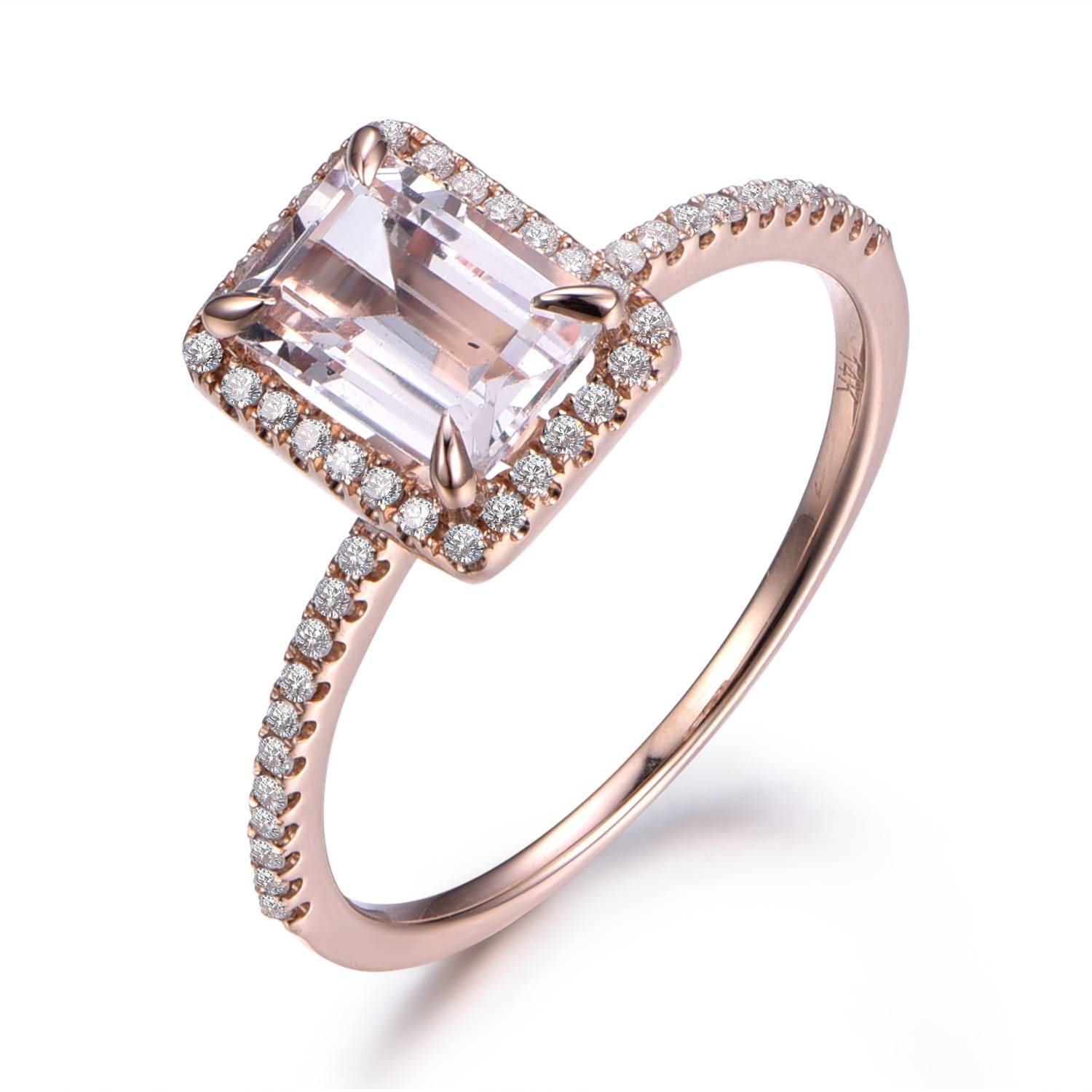 Emerald Cut Morganite Engagement Rings Rose Gold,morganite In Emerald Cut Engagement Rings Under (View 6 of 15)