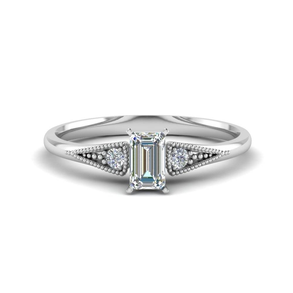 Emerald Cut Small Accents 3 Stone Diamond Pave Milgrain Engagement For 3 Stone Emerald Cut Diamond Engagement Rings (View 7 of 15)