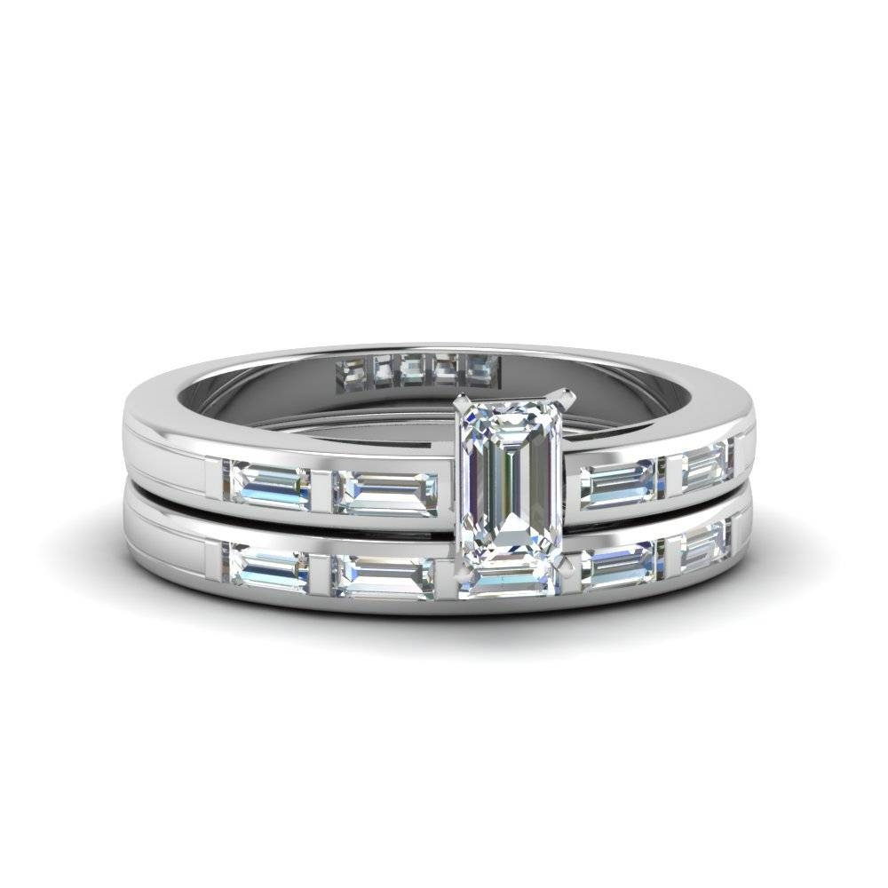 Emerald Cut Straight Baguette Wedding Sets Engagement Rings Pertaining To Baguette Cut Diamond Wedding Bands (View 7 of 15)