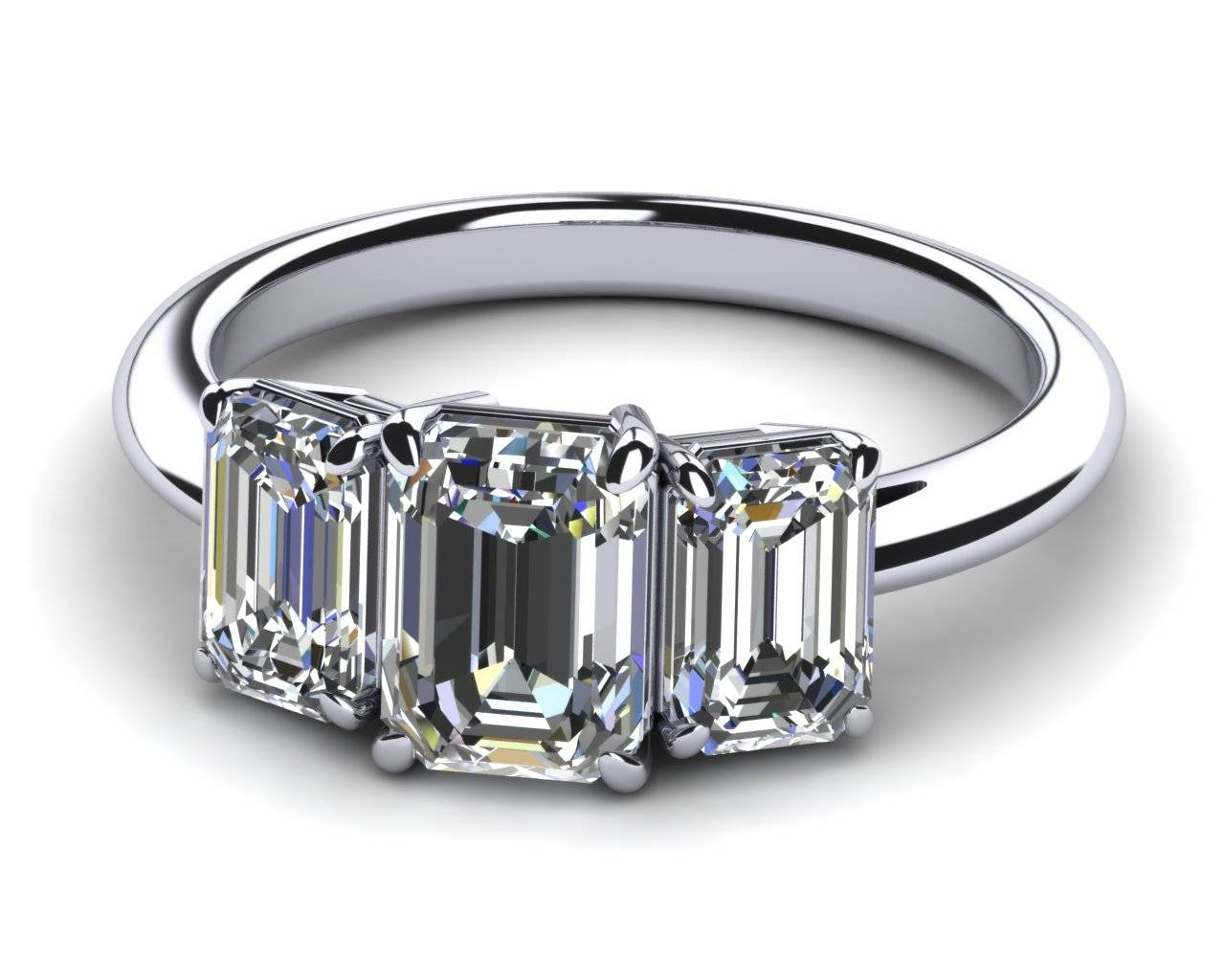Featured Photo of Emerald Cut Three Stone Diamond Engagement Rings