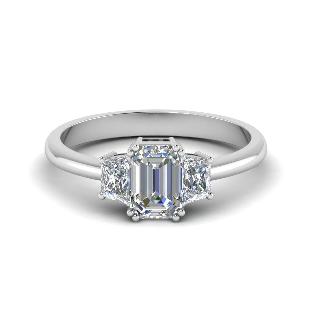 Emerald Cut Trapezoid Diamond Engagement Ring In 14K White Gold Regarding Emerald Cut Three Stone Diamond Engagement Rings (View 12 of 15)