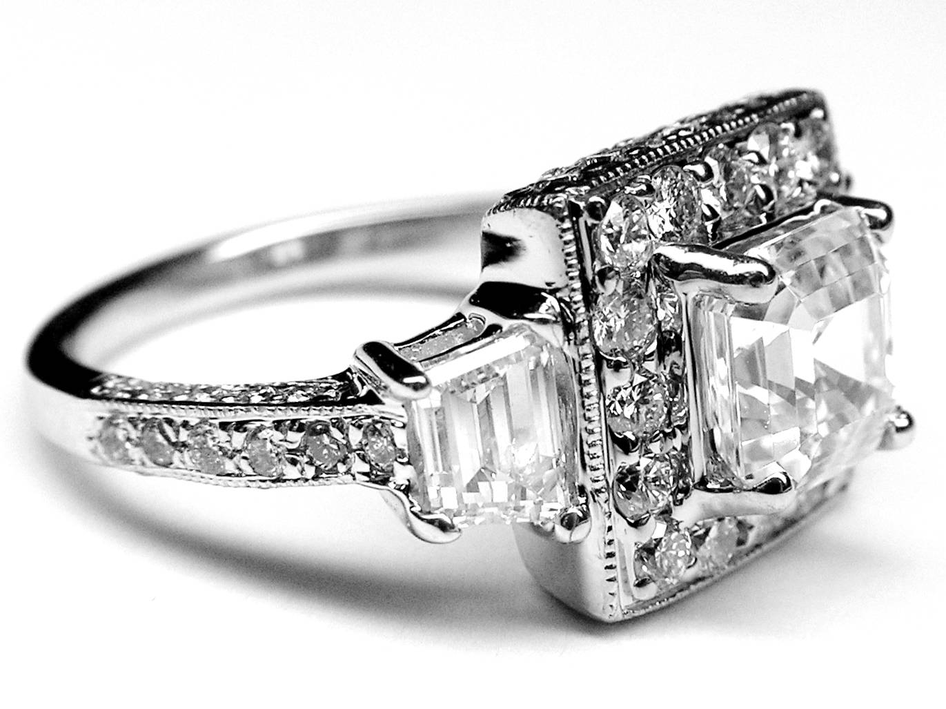 Engagement Ring  Asscher Cut Diamond Vintage Halo Engagement Ring Throughout Vintage Halo Engagement Ring Settings (View 6 of 15)