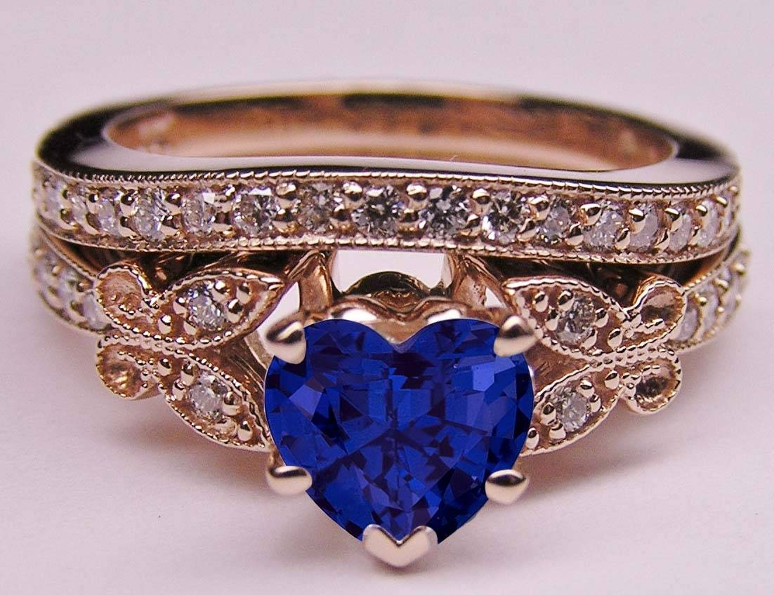 Engagement Ring – Blue Sapphire Heart Shape Diamond Butterfly With Blue Heart Engagement Rings (Gallery 1 of 15)