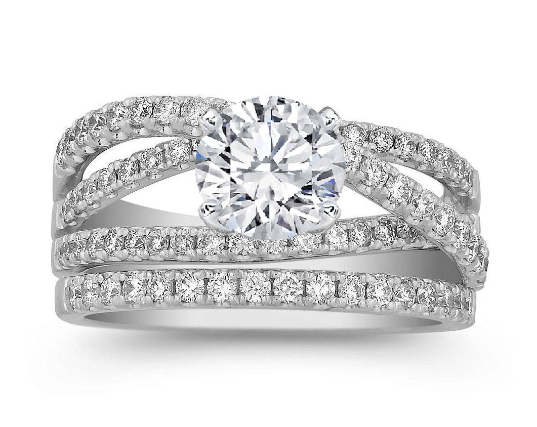 Engagement Ring Crossover Pave Diamond Wedding Set Engagement With Crossover Engagement Rings (View 10 of 15)