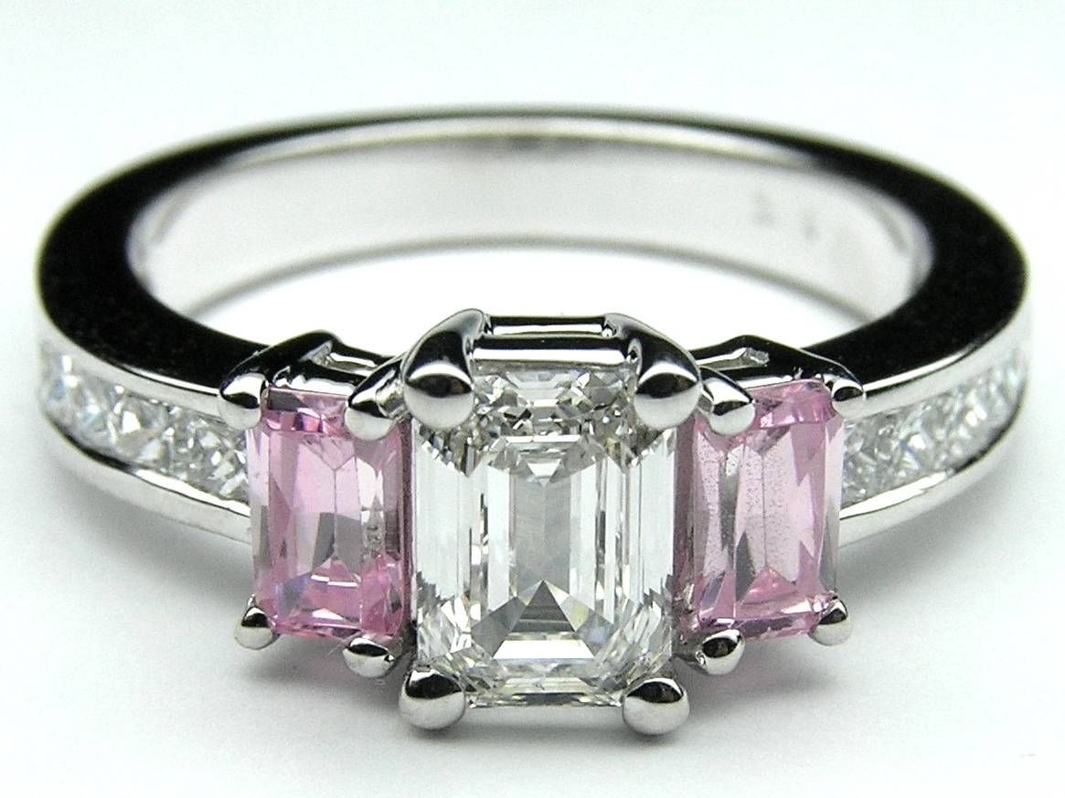 Engagement Ring  Emerald Cut Pink Sapphires And Princess Cut Intended For Pink Sapphire And Diamond Engagement Rings (View 3 of 15)
