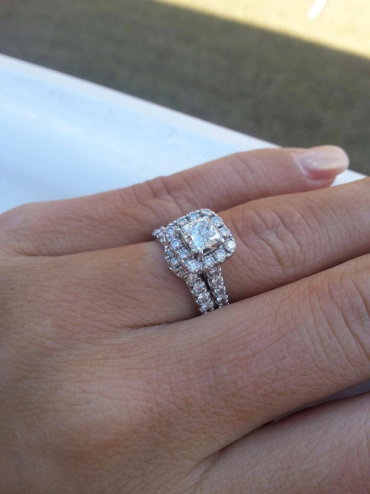 Engagement Ring Low Setting – Curved Wedding Band Or Straight Pertaining To Wedding Band To Go With Princess Cut Engagement Ring (View 1 of 15)