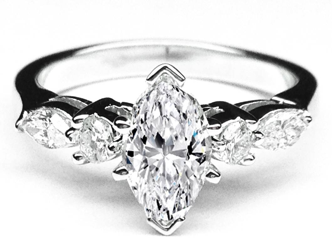 Engagement Ring  Marquise Diamond Engagement Ring Marquise & Round Regarding White Gold Marquise Diamond Engagement Rings (View 4 of 15)