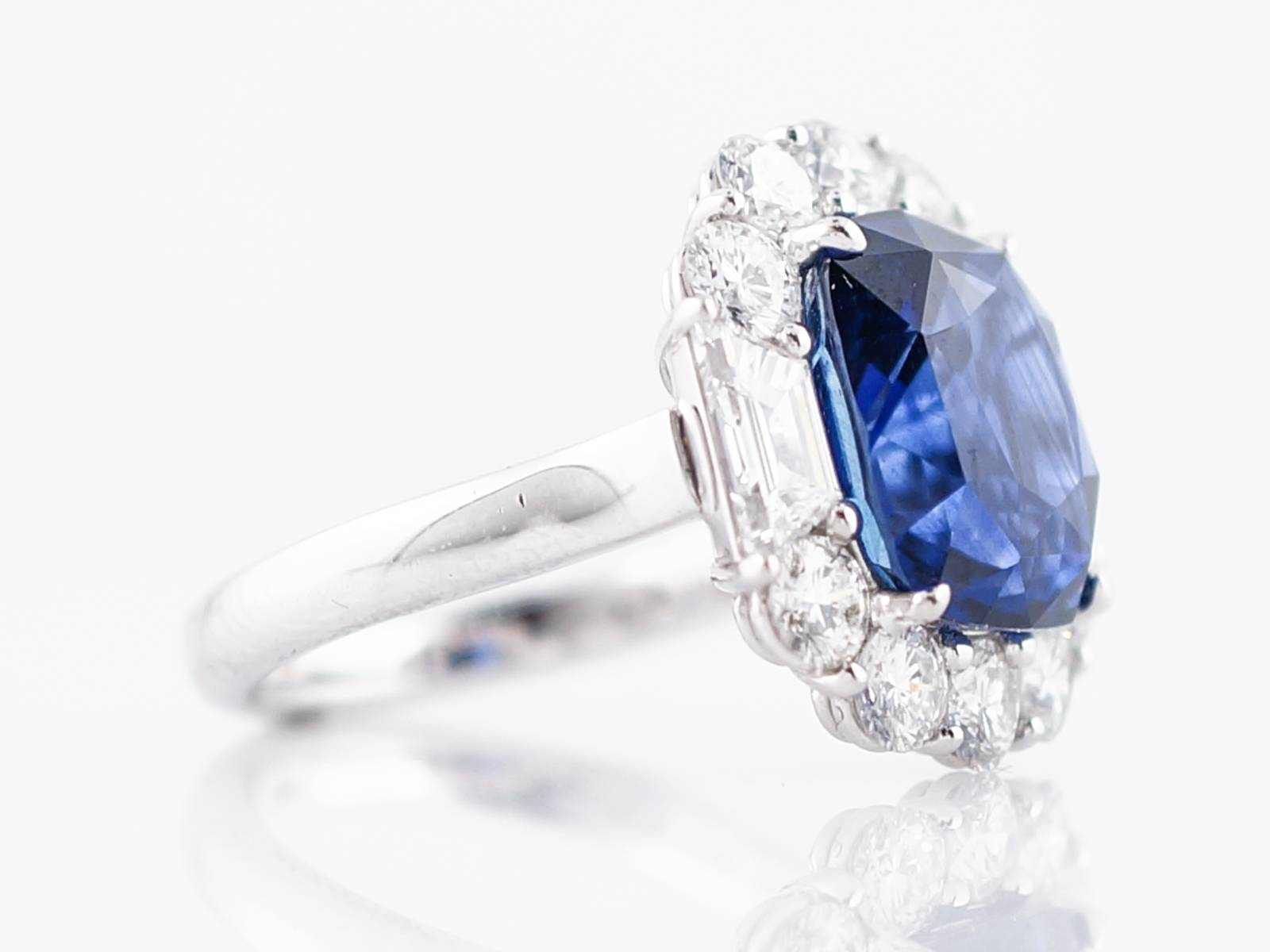 Engagement Ring Modern 7.62 Cushion Cut Sapphire &  (View 5 of 15)