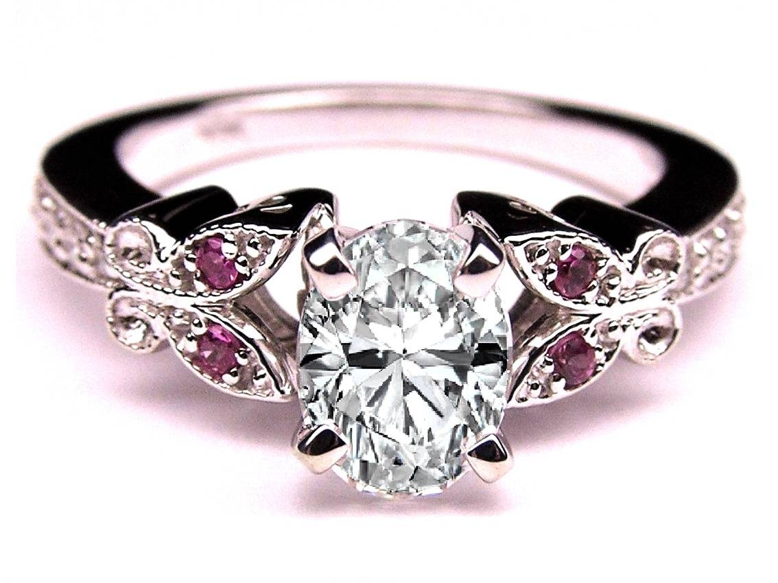 Engagement Ring Oval Diamond Butterfly Pink Eyes Engagement Ring For Pink Diamond White Gold Engagement Rings (View 6 of 15)