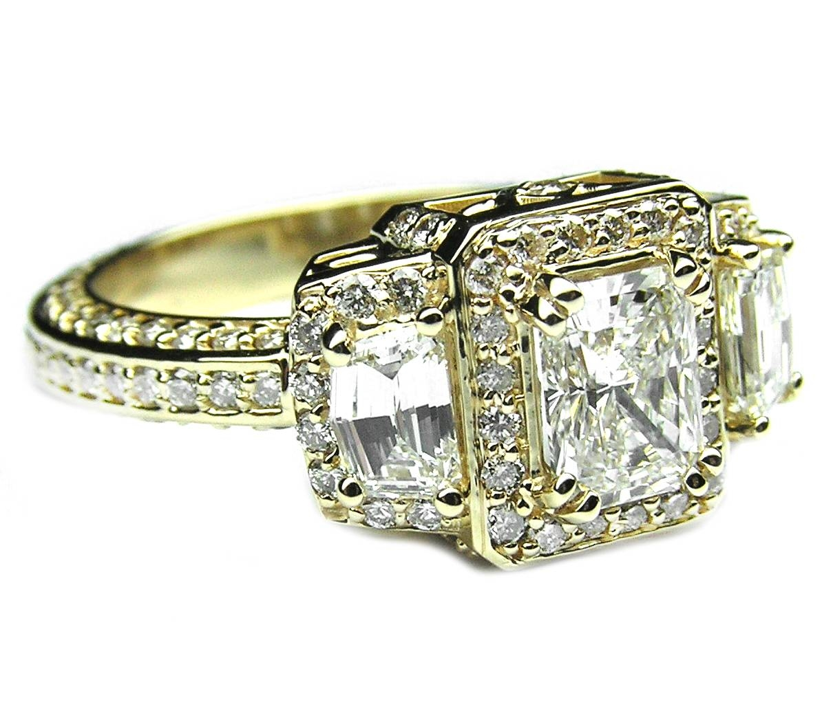 Engagement Ring  Radiant Diamond Vintage Design Halo Engagement Inside Vintage Yellow Gold Wedding Rings (View 7 of 15)