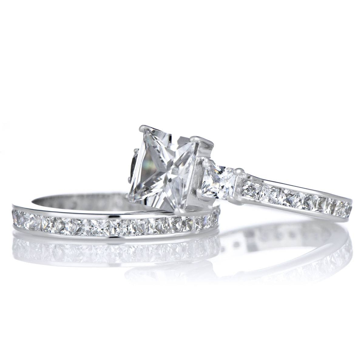 Engagement Ring Set – 2.5 Carat Princess Cut Cz In  (View 5 of 15)