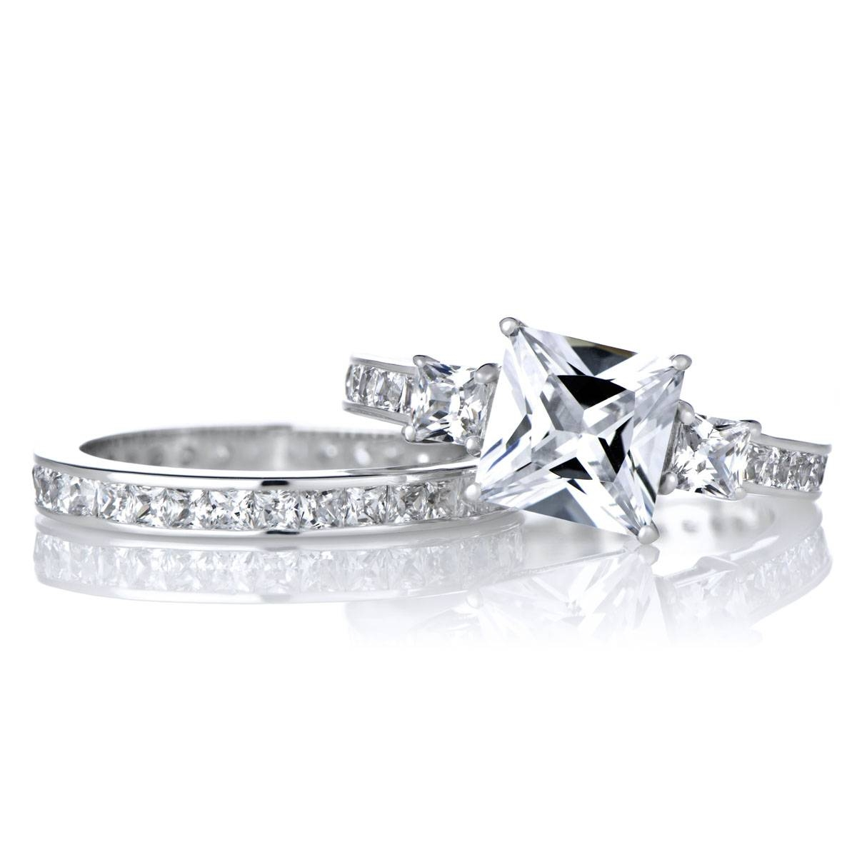 Engagement Ring Set – 2.5 Carat Princess Cut Cz Throughout Silver Princess Cut Diamond Engagement Rings (Gallery 9 of 15)