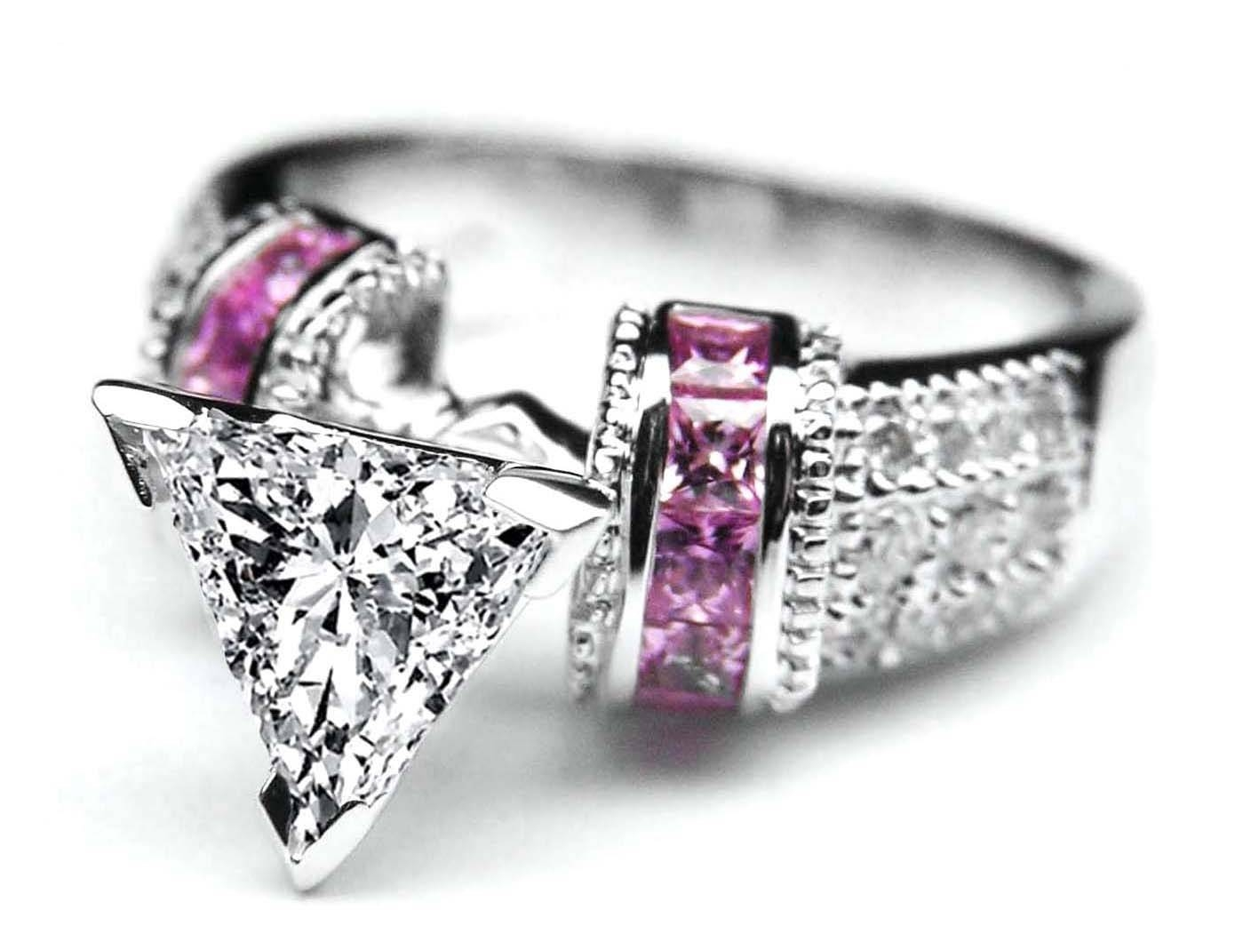 Engagement Ring  Trillion Diamond Engagement Ring Square Pink Within Pink Sapphire Engagement Rings With Diamonds (View 5 of 15)