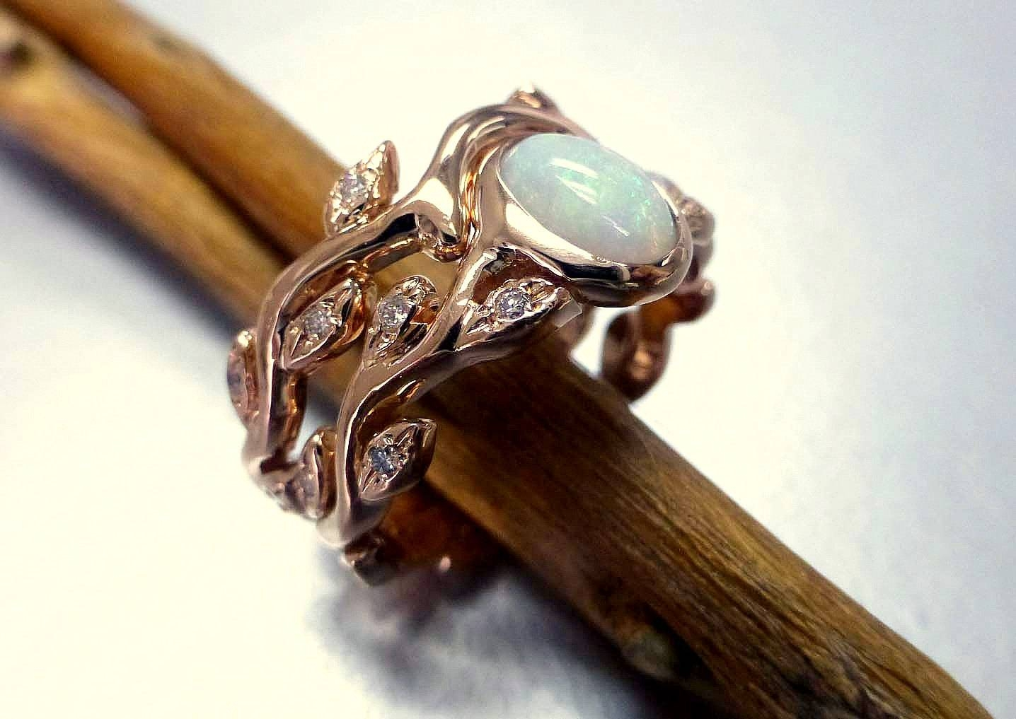 Engagement Ring With Opal And Diamonds. Opal Ring Set. Leaf Intended For Australia Opal Engagement Rings (Gallery 8 of 15)