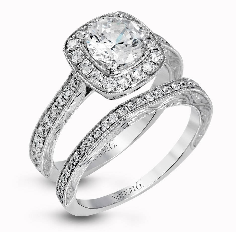 Engagement Rings & Sets | Simon G Jewelry For Halo Diamond Wedding Band Sets (Gallery 4 of 15)