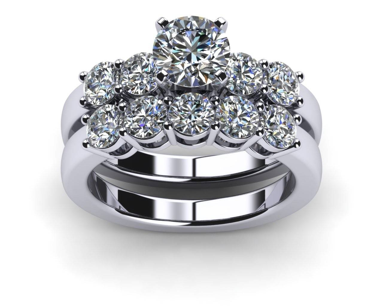 Engagement Rings Wedding Sets Platinum Common Prong Five Round In Recent Five Diamond Wedding Bands (View 10 of 15)