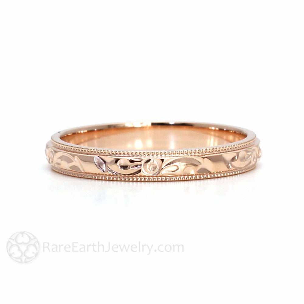 Engraved Wedding Band Vintage Wedding Ring 3Mm Floral Flower Pertaining To Engraved Gold Wedding Bands (View 7 of 15)