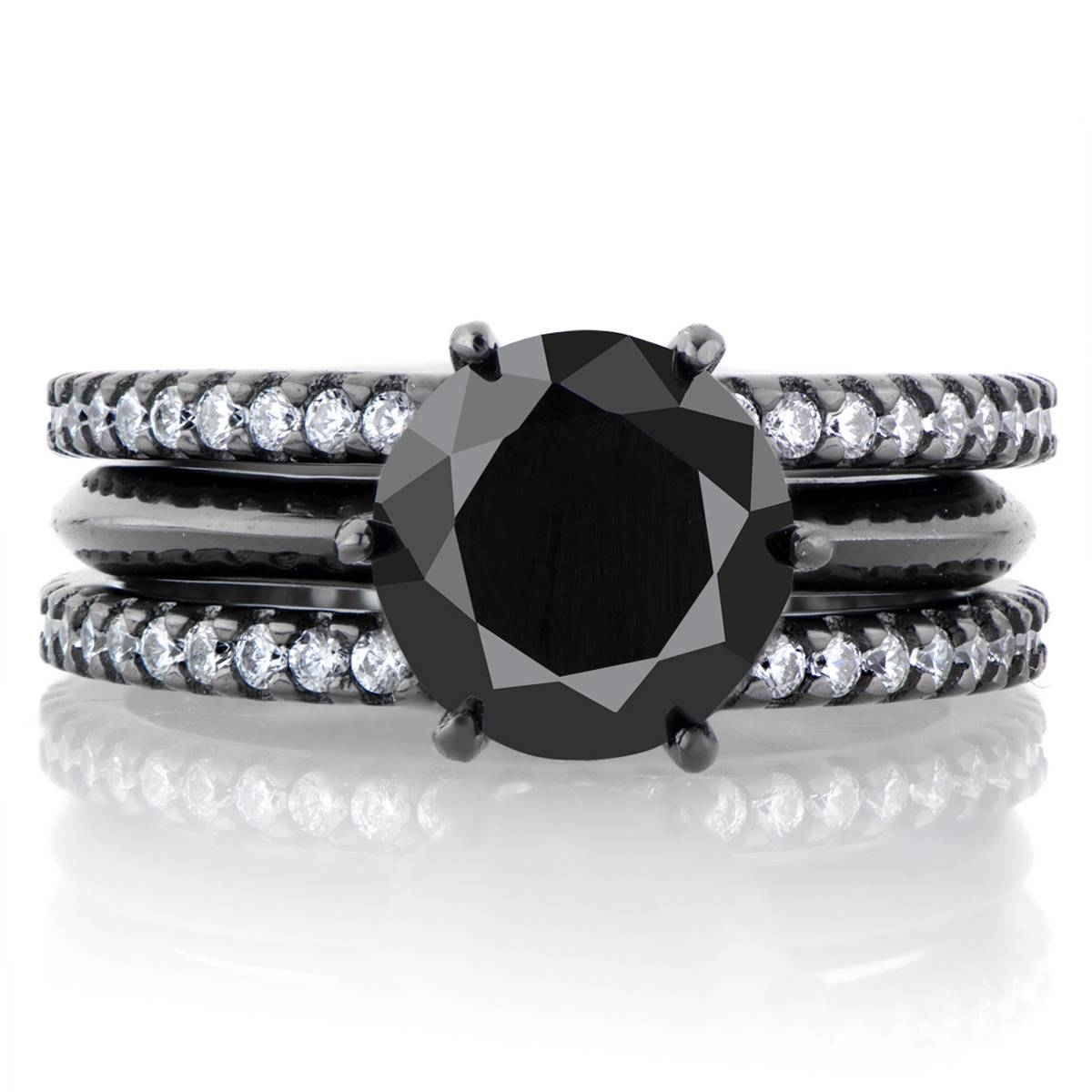 Enya's Black Cz Triple Row Wedding Ring Set In Most Recent Rhodium Wedding Bands (View 6 of 15)