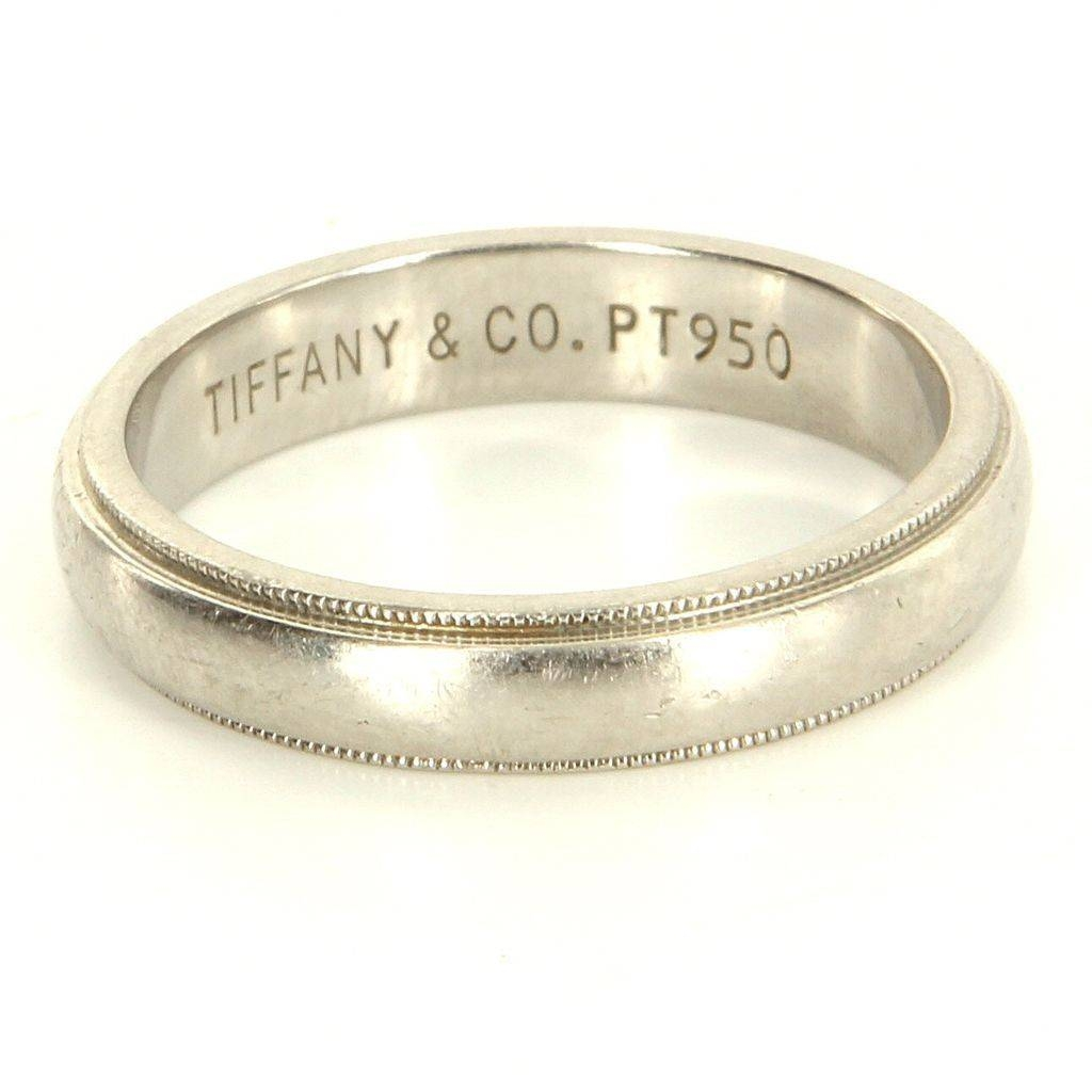 Estate Designer Tiffany & Co 950 Platinum Milgrain Wedding Band Regarding Most Up To Date Platinum Milgrain Wedding Bands (View 5 of 15)