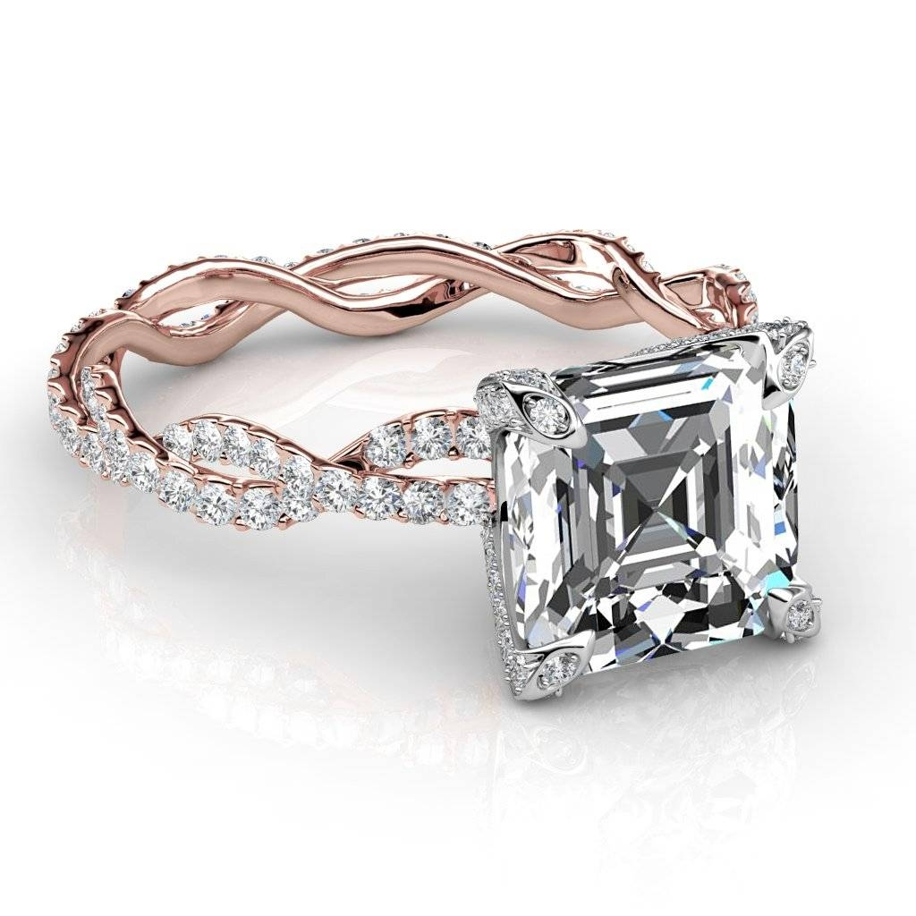 Eternity Pave Diamond Engagement Ring With Asscher Diamond Engagement Rings (Gallery 1 of 15)