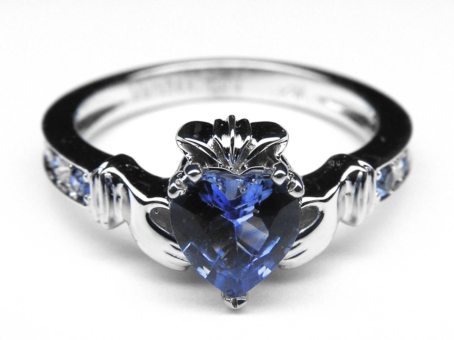 European Engagement Ring – Claddagh Ring Heart Blue Sapphire 14K Inside White Gold Engagement Rings With Blue Sapphire (View 5 of 15)