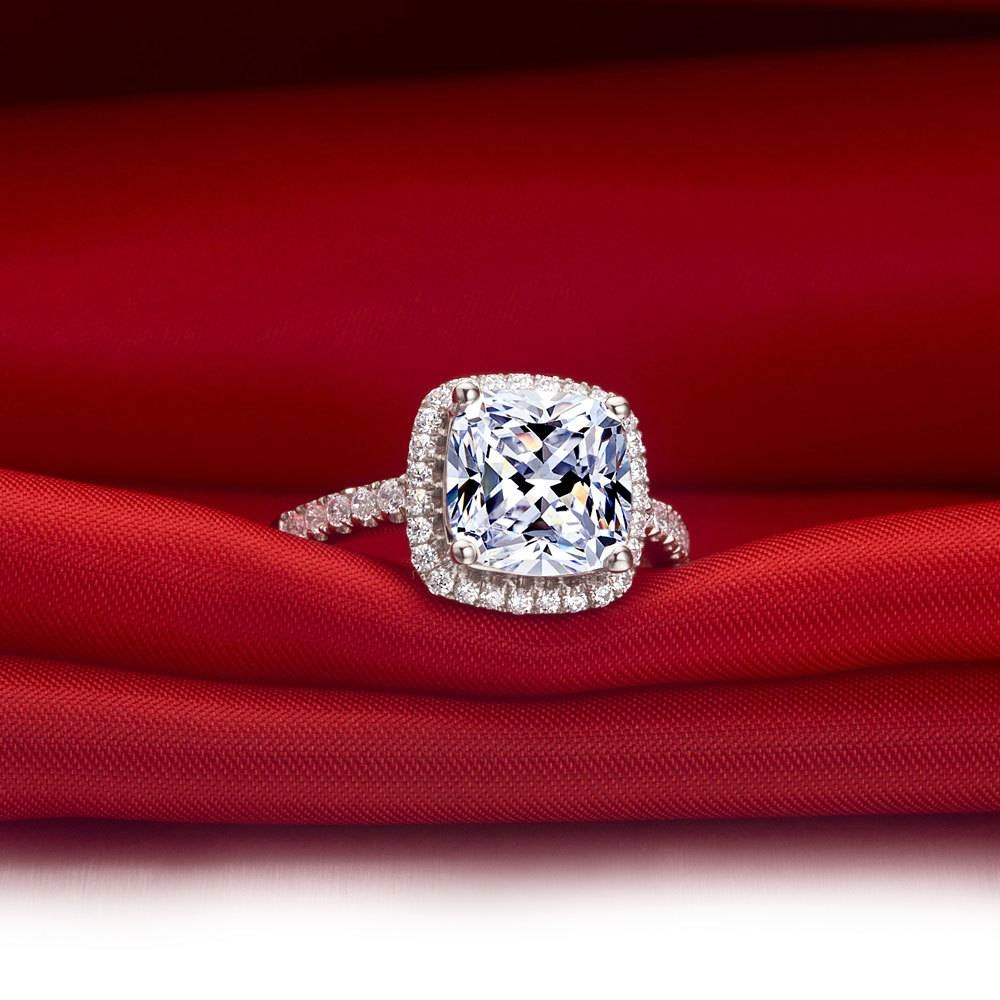 Excellent 1 Carat Brilliant Cushion Cut Halo Style Sona Diamond Regarding Vvs Engagement Rings (View 12 of 15)