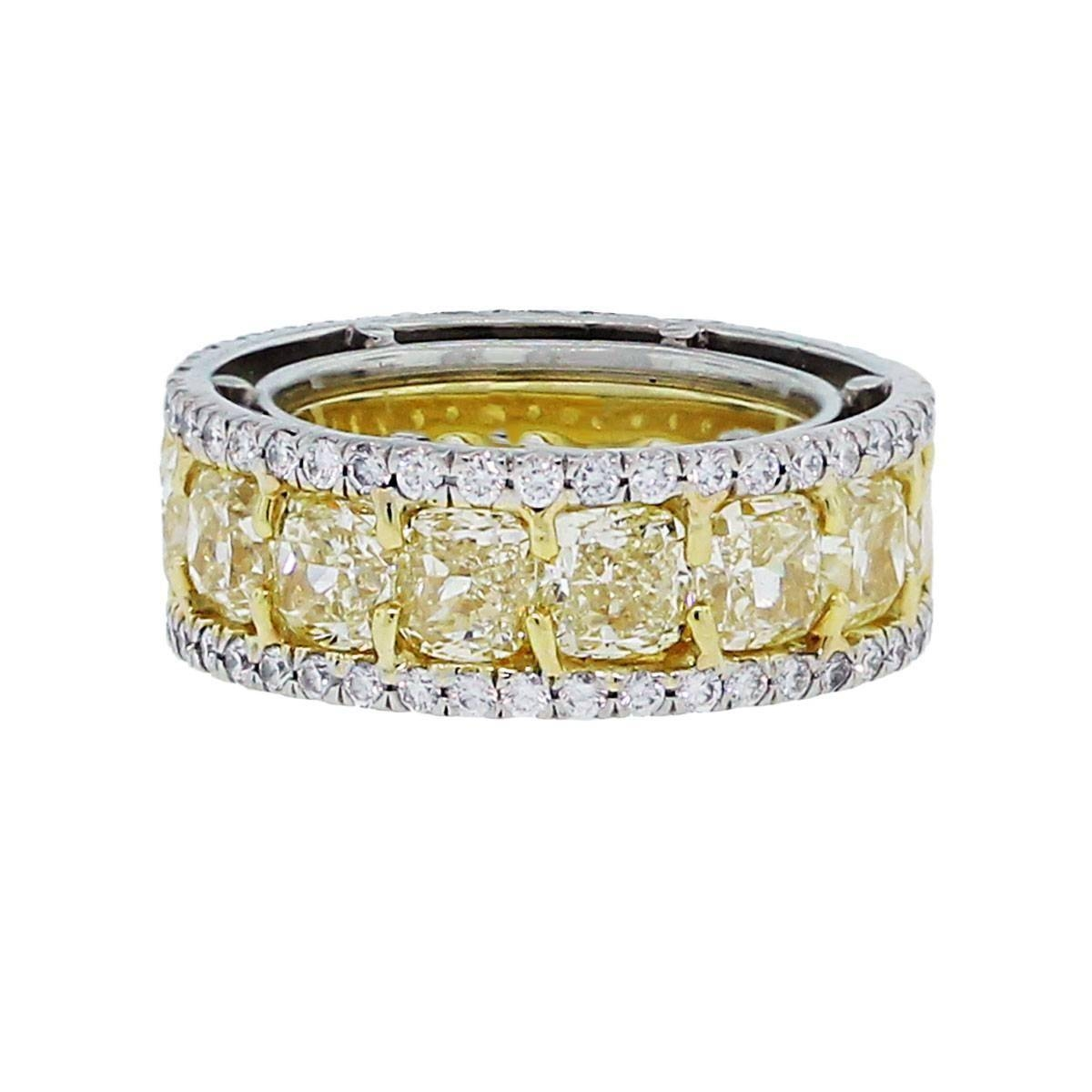Fancy Yellow Diamond Gold Platinum Eternity Band At 1Stdibs Intended For Wedding Bands With Yellow Diamonds (View 7 of 15)