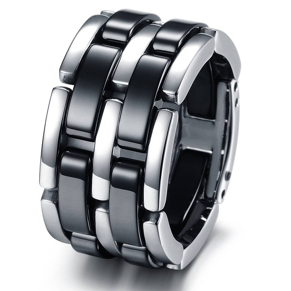 Fashion Stainless Steel Bands Foldable Chain Mens Ladies Ceramic In Black Steel Wedding Bands (View 6 of 15)